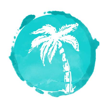 Aquarel cirkel verf vlek en kokos palmboom silhouet. Stempel, pictogram geïsoleerd op een witte achtergrond. Abstracte kunst. Logo ontwerp