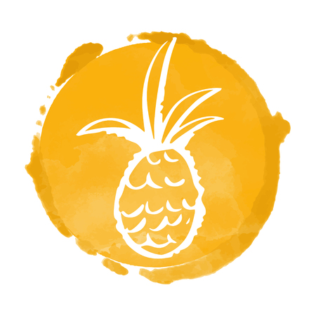 Watercolor orange circle paint stain and pineapple silhouette. Sun. Stamp, icon isolated on a white background. Abstract art. Logo design
