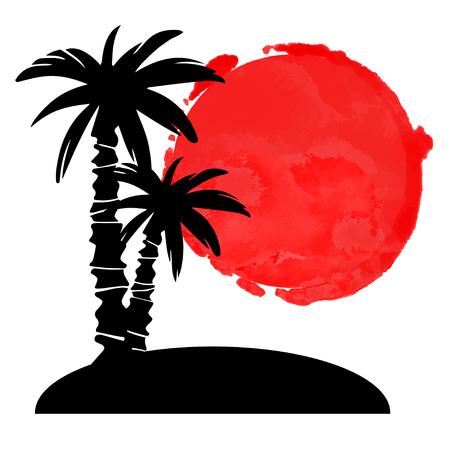 Coconut palmbomen zwarte silhouetten en aquarel cirkel verf vlek. Eiland, zon geïsoleerd op een witte achtergrond. Logo kunst ontwerp