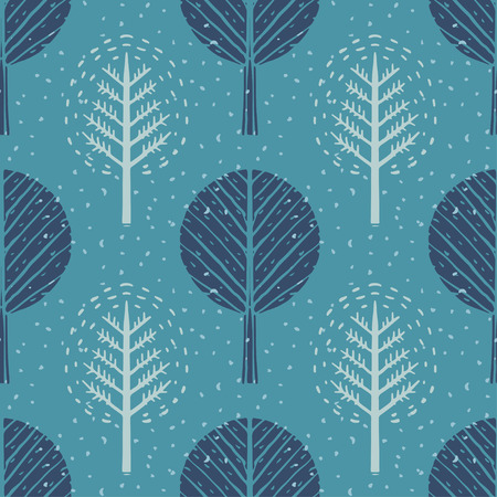 Seamless pattern with winter trees and snow. Abstract hand drawn texture. Repeating print background. Nature. Cloth design. Wallpaper Illustration