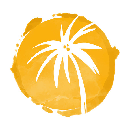 Watercolor orange circle paint stain and white coconut palm trees silhouette. Sun. Stamp, icon isolated on a white background. Abstract art. Logo design Illustration