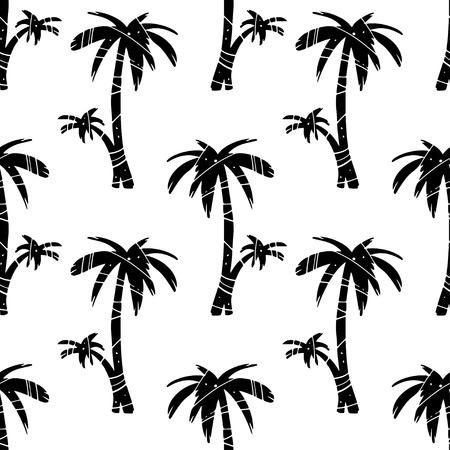 Exotisch naadloos patroon met palmen van de silhouetten de tropische kokosnoot. Bos, jungle herhaalde achtergrond. Abstracte print textuur. Doek ontwerp. Behang