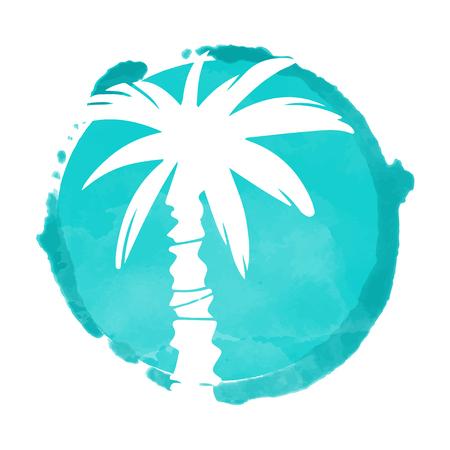 Tache de peinture aquarelle cercle bleu et silhouette de cocotiers blancs. Timbre, icône isolé sur fond blanc. Art abstrait. Création de logo