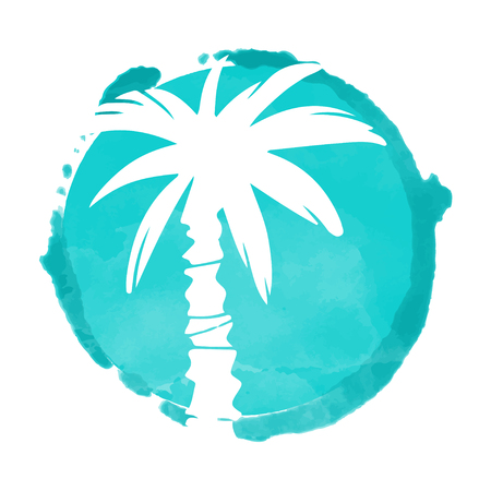 Watercolor blue circle paint stain and white coconut palm trees silhouette. Stamp, icon isolated on a white background. Abstract art. Logo design
