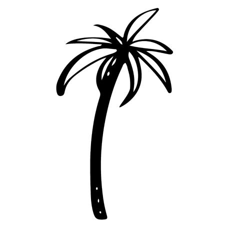 Het zwarte silhouet van de kokosnotenpalm dat op een witte hand getrokken illustratie wordt geïsoleerd als achtergrond. Pictogram, teken Art logo ontwerp