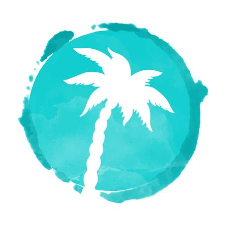 Tache de peinture aquarelle cercle et silhouette de cocotier. Timbre, icône isolé sur fond blanc. Art abstrait. Création de logo