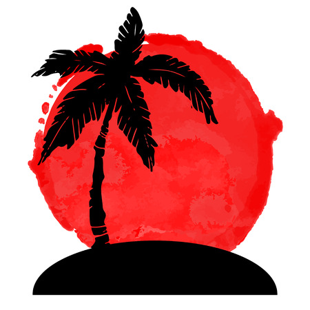 Coconut palm tree black silhouette and watercolor circle paint stain. Island, sun isolated on a white background. Logo art design