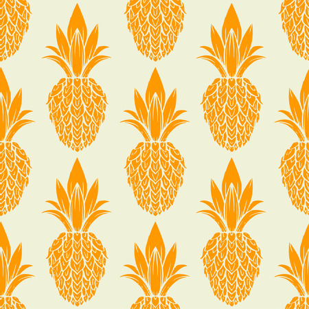 Exotic seamless pattern with silhouettes tropical fruit pineapples. Food hand drawn repeating background. Abstract print texture. Cloth art design Illustration
