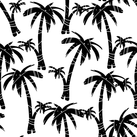 Exotic seamless pattern with silhouettes tropical coconut palm trees. Forest, jungle. Abstract nature hand drawn background texture. Cloth art design Vector Illustratie