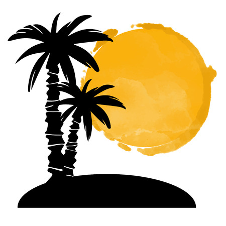 Coconut palm trees black silhouettes and watercolor circle paint stain. Island, sun isolated on a white background. Logo art design