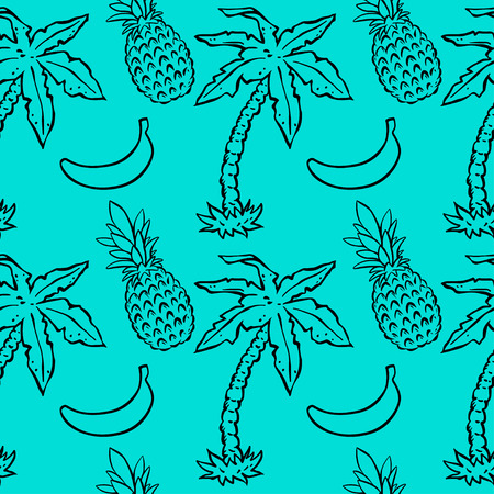 Seamless pattern with tropical coconut palm trees, pineapples, bananas. Abstract floral repeating background. Endless print texture. Fabric design. Wallpaper