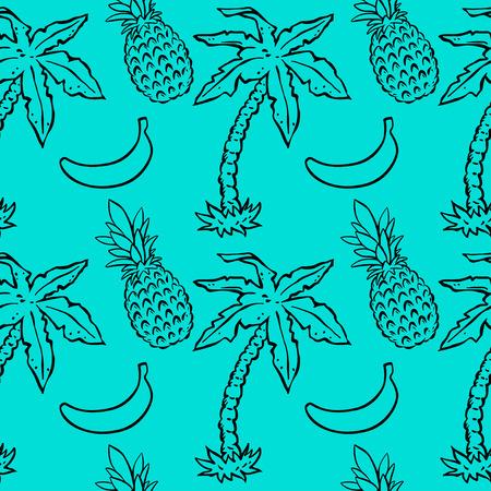Modèle sans couture avec cocotiers tropicaux, ananas, bananes. Abstrait floral répétitif. Texture d'impression sans fin. Conception de tissu. Fond d'écran Vecteurs