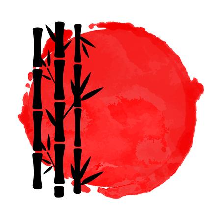 Sagome nere di alberi di bambù e macchia di vernice cerchio rosso dell'acquerello isolato su sfondo bianco. Disegno di arte del logo