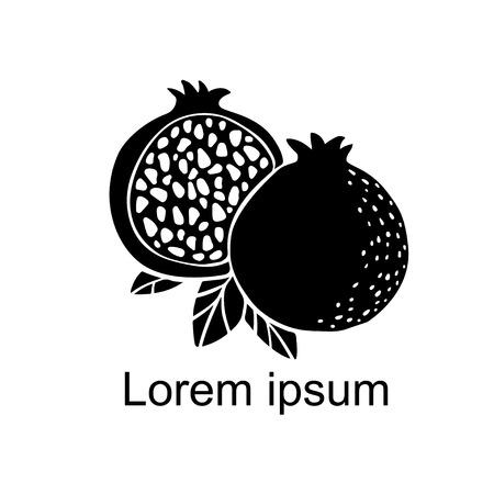 Tranche de fruit de grenade, ensemble, feuilles, ensemble de silhouette noire isolé sur fond blanc, création de logo d'art