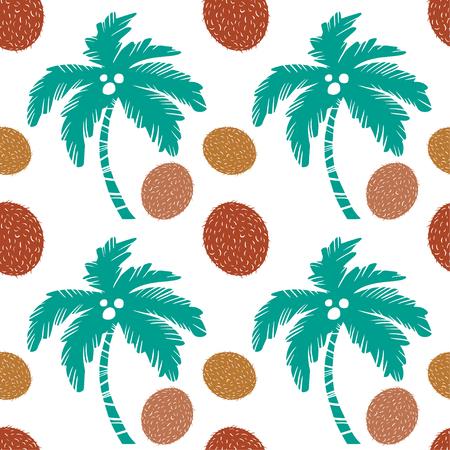 Palmbomen en kokosnotenvruchten. Floral herhalende achtergrond. Natuurlijke printtextuur. Doek ontwerp. Behang Vector Illustratie