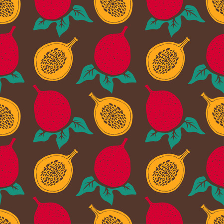 Passion fruits and leafs. Floral repeating background. Natural print texture. Cloth design. Wallpaper Illustration