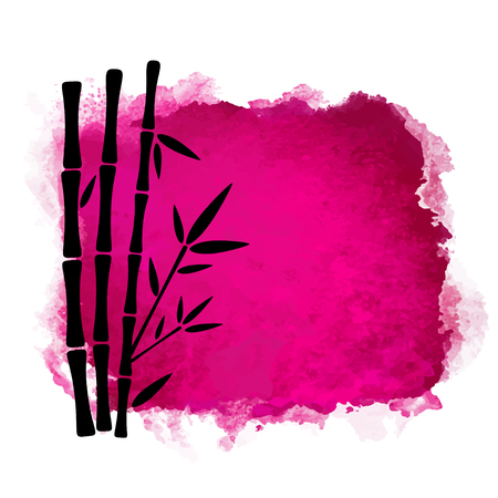 Watercolor square paint stain and bamboo trees closeup black silhouettes. Nature icon isolated on white background. Abstract art. Logo design