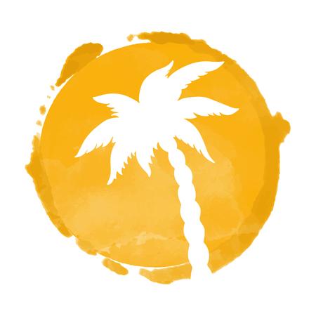 Tache de peinture à l'aquarelle et silhouette de cocotier. Timbre, icône isolé sur fond blanc. Art abstrait. Création de logo