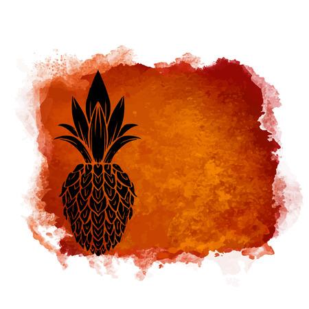 Aquarel vierkante verf vlek en fruit ananas close-up zwart silhouet. Natuurlijk pictogram dat op witte achtergrond wordt geïsoleerd. Abstracte kunst. Logo ontwerp Logo