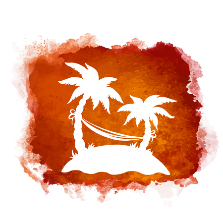 Watercolor square paint stain and coconut palm trees, hammock closeup white silhouettes. Nature icon isolated on white background. Abstract art. Logo design