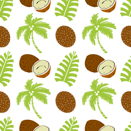 Palm trees and coconuts fruits. Floral repeating background. Natural print texture. Cloth design. Wallpaper