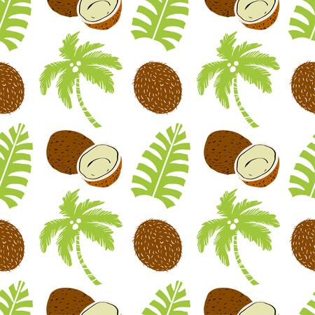Palmiers et fruits de noix de coco. Fond répétitif floral. Texture d'impression naturelle. Conception de tissu. Fond d'écran