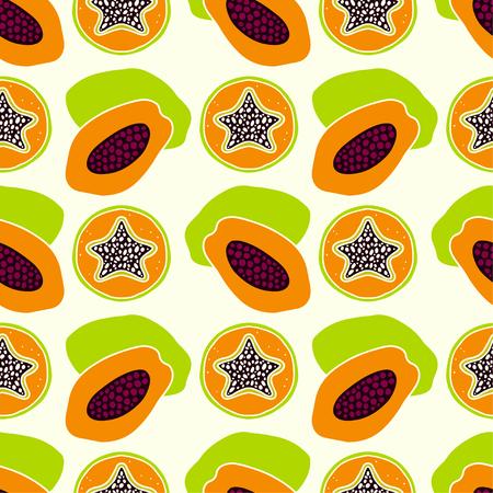 Tropical fruits, star fruits and papaya. Floral repeating background. Natural print texture. Cloth design. Wallpaper Illustration