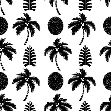 Palm trees and coconuts fruits in black and white. Floral repeating background. Natural print texture. Cloth design. Wallpaper