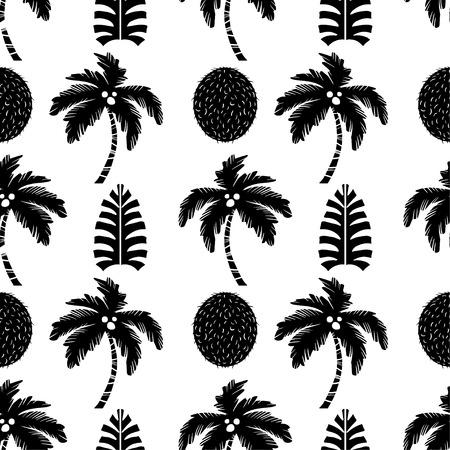 Palmiers et fruits de noix de coco en noir et blanc. Floral fond répétitif. Texture d'impression naturelle. Conception de tissu. Fond d'écran