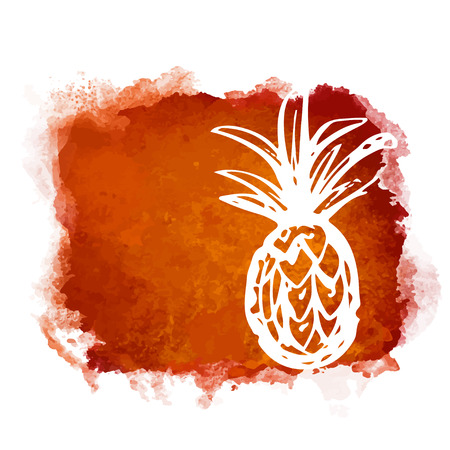 Watercolor square paint stain and fruit pineapple closeup white silhouette. Natural icon isolated on white background. Abstract art. Logo design