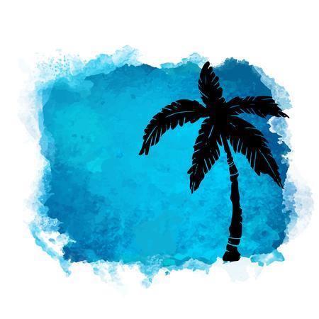 Tache de peinture carrée aquarelle et silhouette noire gros plan de cocotier. Icône de la nature isolée sur fond blanc. Art abstrait. Création de logo Logo