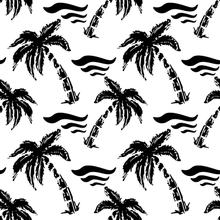 Seamless pattern with silhouettes tropical coconut palm trees and waves. Natural print texture in black and white. Repeating background. Cloth design. Wallpaper