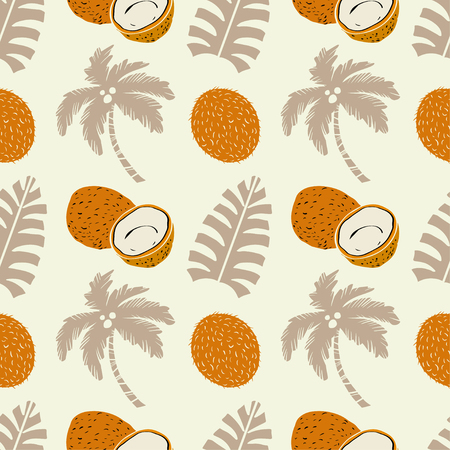 Palm trees and coconuts fruits. Floral repeating background. Natural print texture. Cloth design. Wallpaper Banque d'images - 110926312