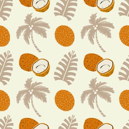 Palmiers et fruits de noix de coco. Floral fond répétitif. Texture d'impression naturelle. Conception de tissu. Fond d'écran