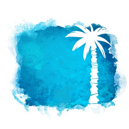 Tache de peinture carrée aquarelle et silhouette blanche gros plan de cocotier. Icône de la nature isolée sur fond blanc. Art abstrait. Création de logo Logo