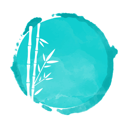 Watercolor blue circle paint stain and white bamboo trees silhouettes. Stamp, icon isolated on a white background. Abstract art. Logo design