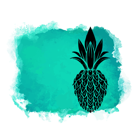Watercolor square paint stain and fruit pineapple closeup black silhouette. Natural icon isolated on white background. Abstract art. Logo design