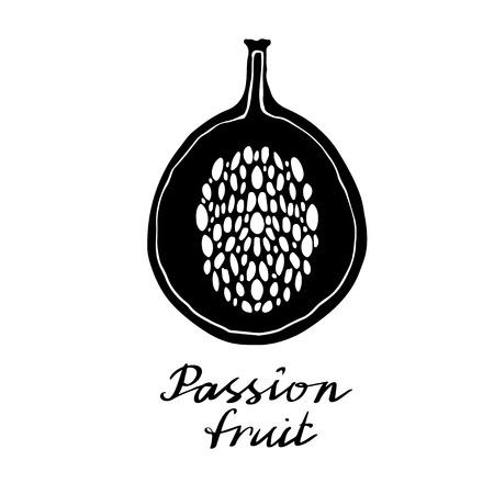 Passion fruit closeup hand drawn icon isolated on white background, art logo design