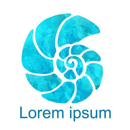Aquarell Nautilus Shell Closeup isoliert auf weißem Hintergrund, Symbol, Kunst-Logo-Design