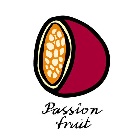 Passion fruit closeup hand drawn icon isolated on white background, art logo design