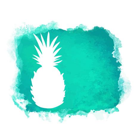 Aquarel vierkante verf vlek en fruit ananas close-up wit silhouet. Natuurlijke pictogram geïsoleerd op een witte achtergrond. Abstracte kunst. Logo ontwerp