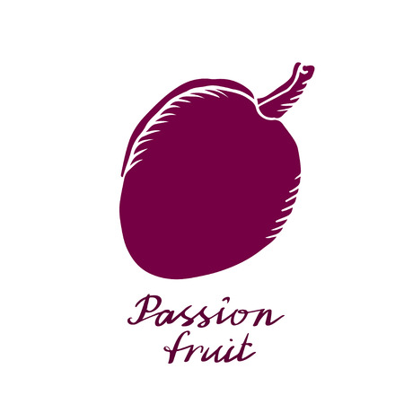 Passion fruit closeup hand drawn icon, silhouette isolated on white background, art logo design