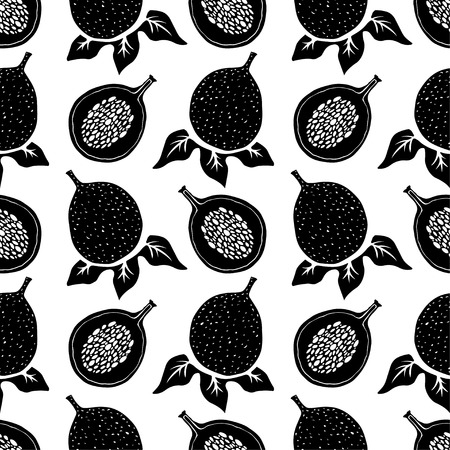 Passion fruits in black and white. Floral repeating background. Natural print texture. Cloth design. Wallpaper