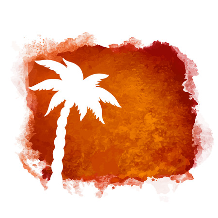 Watercolor square paint stain and coconut palm tree closeup white silhouette. Nature icon isolated on white background. Abstract art. Logo design