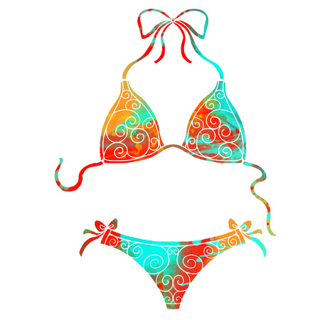 Watercolor women swimsuit with rainbow colors and bikini