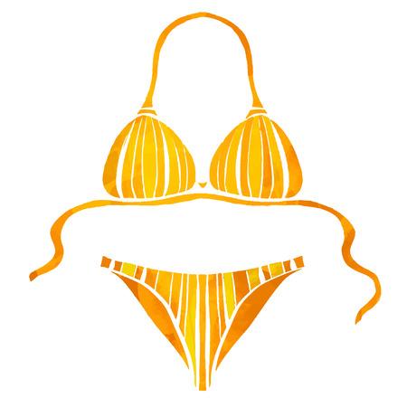Akwarela kobiet pomarańczowy strój kąpielowy na plaży w paski wzór, zbliżenie bikini na białym tle