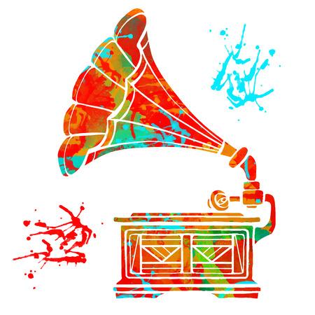 Aquarell buntes Grammophon und Farbspritzer isoliert auf weißem Hintergrund