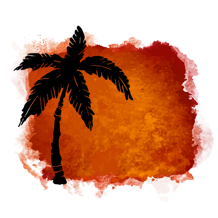 Watercolor square paint stain and coconut palm tree closeup black silhouette. Nature icon isolated on white background. Abstract art. Logo design
