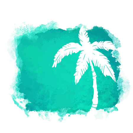 Tache de peinture carrée aquarelle et silhouette blanche gros plan de cocotier. Icône de la nature isolée sur fond blanc. Art abstrait. Création de logo