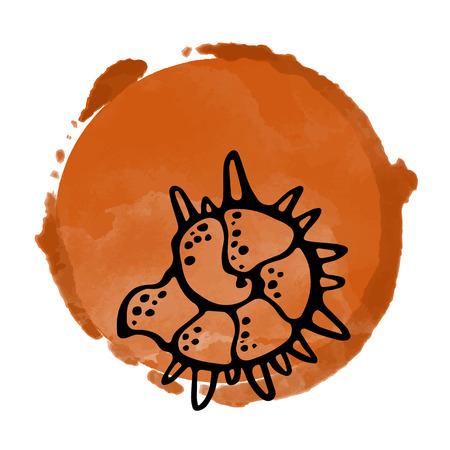 Watercolor art circle logo icon isolated on white background, art logo design